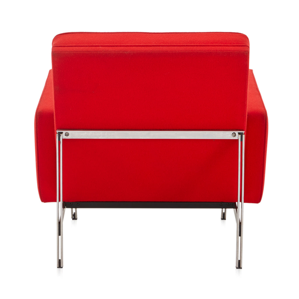 Modernica Red Fabric Arm Chair - Metal Base