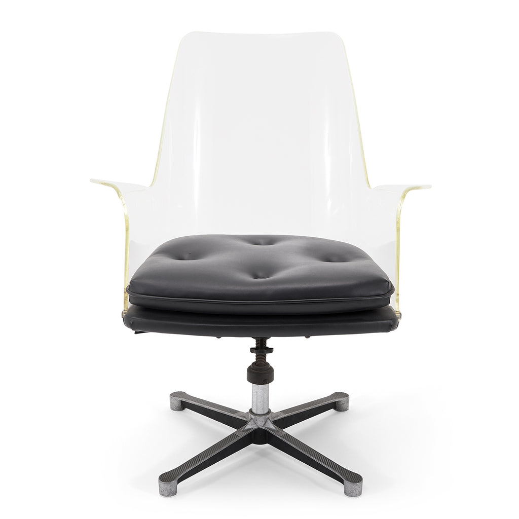 Lucite Chair with Black Cushion