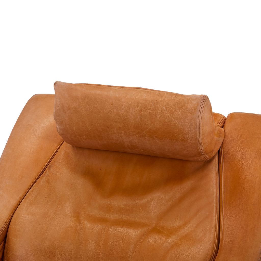 Wide Caramel Brown Leather Lounge Chair with Ottoman