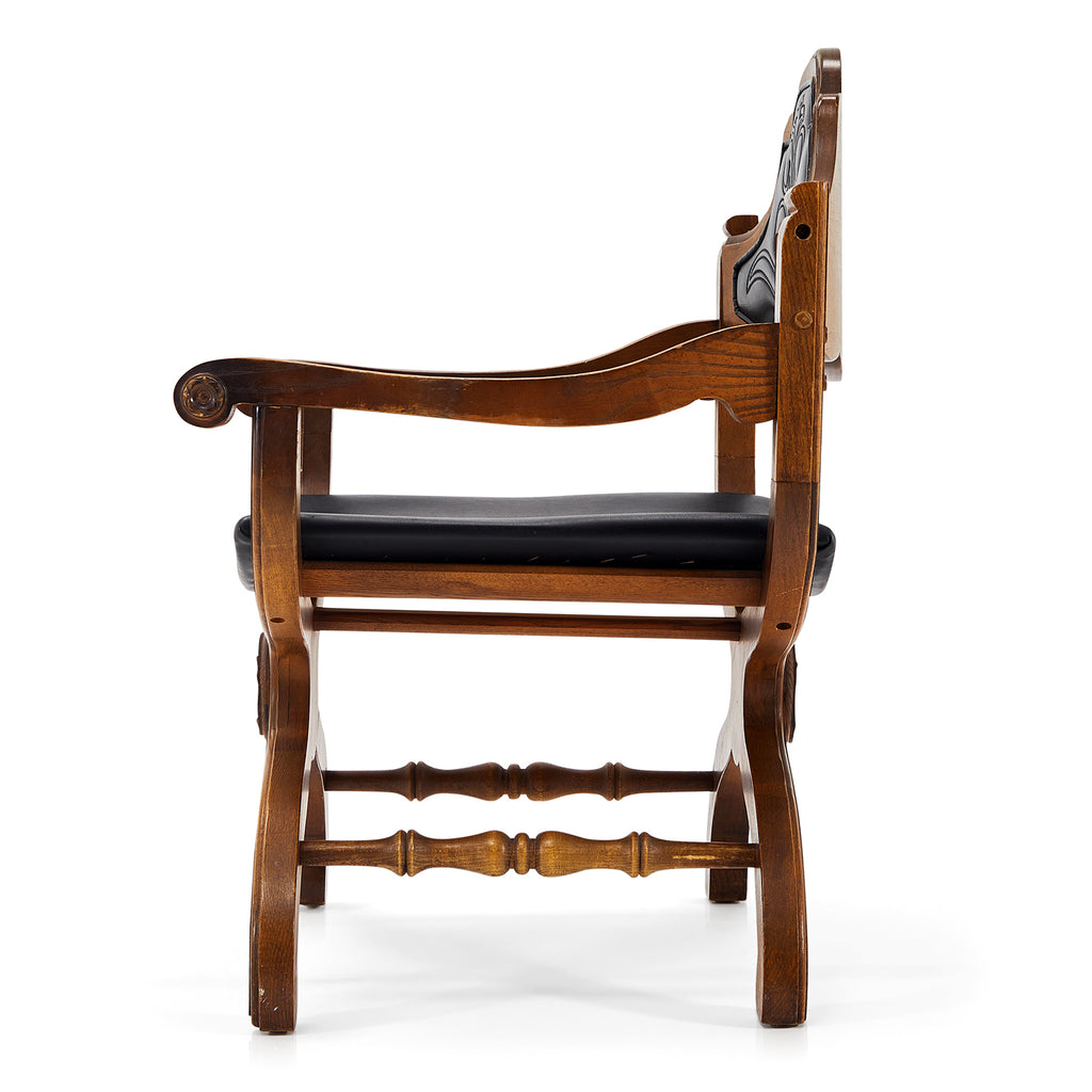 Wood and Black Leather Armchair