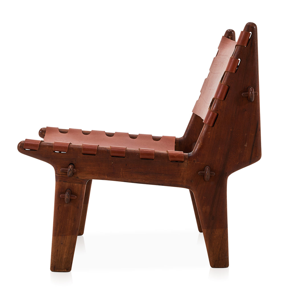 Low Rustic Leather Sling Side Chair