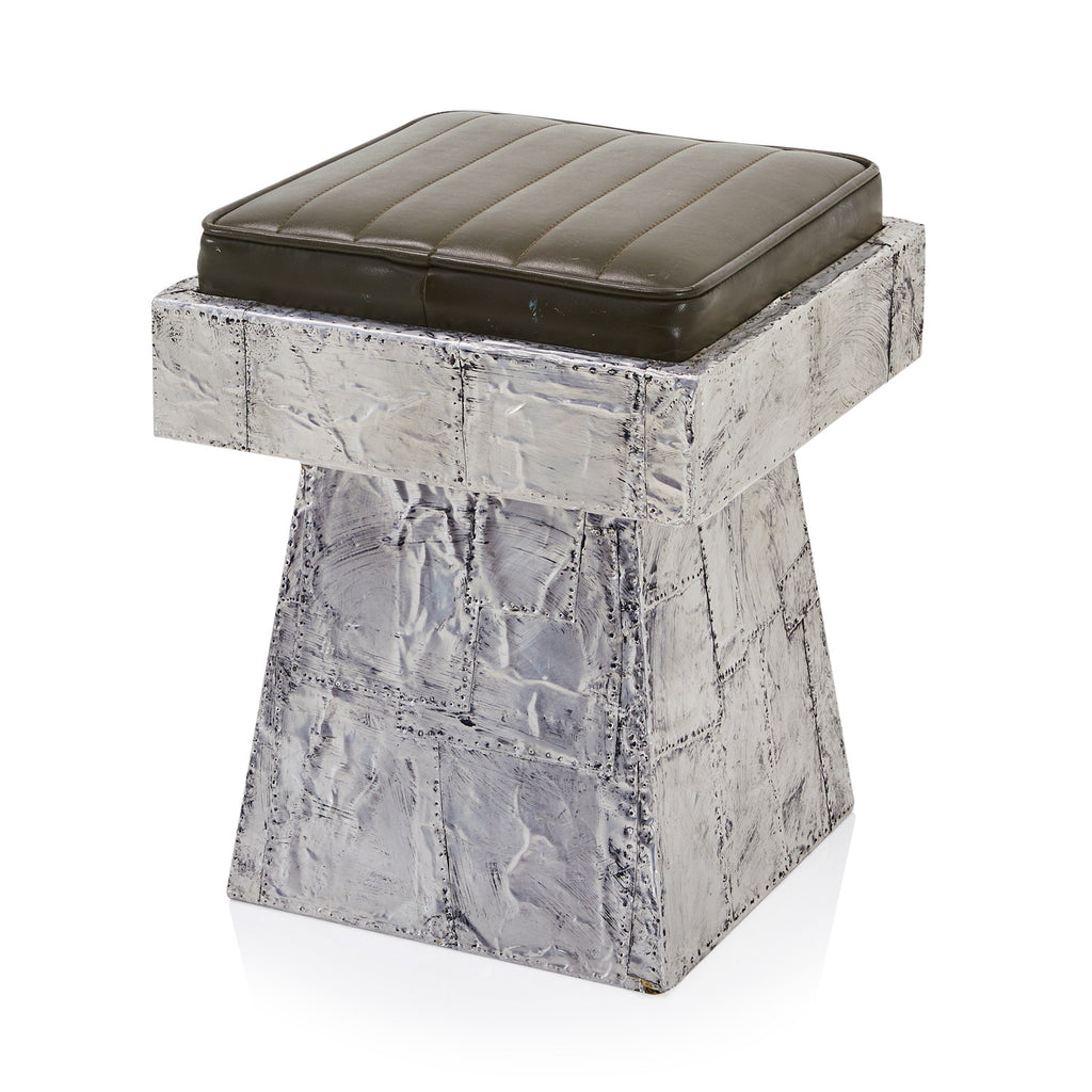 Aluminum Stool with Green Cushion