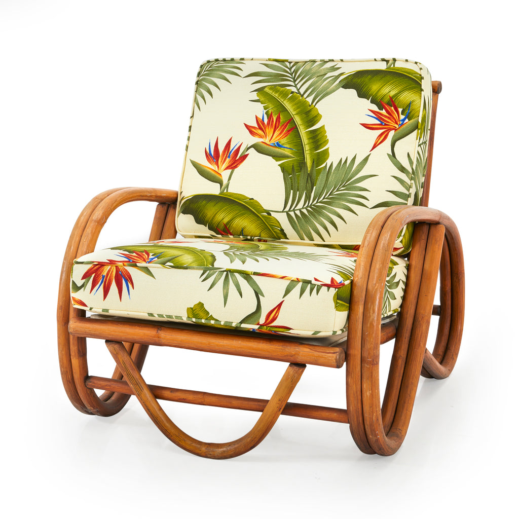 Bamboo Arm Chair With Floral Cushions