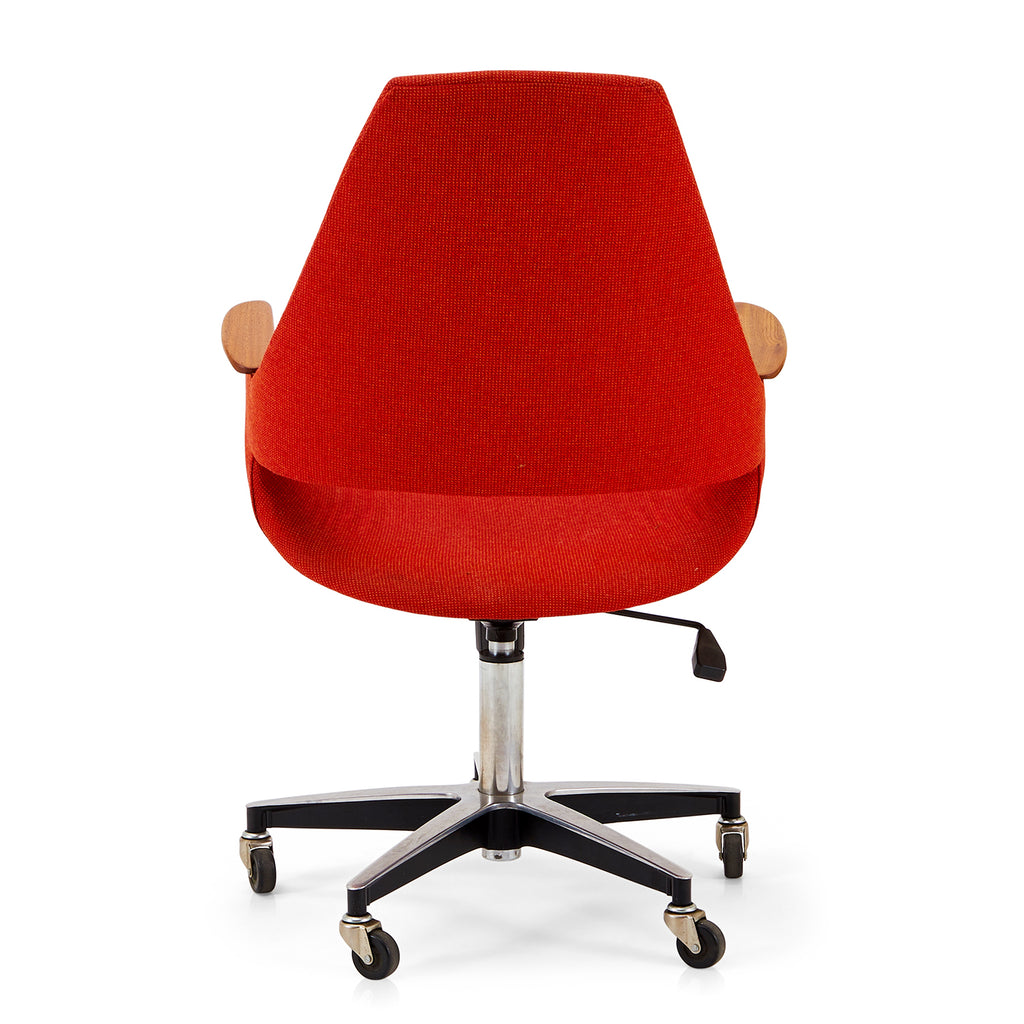 Red Upholstered Chair with Keyhole