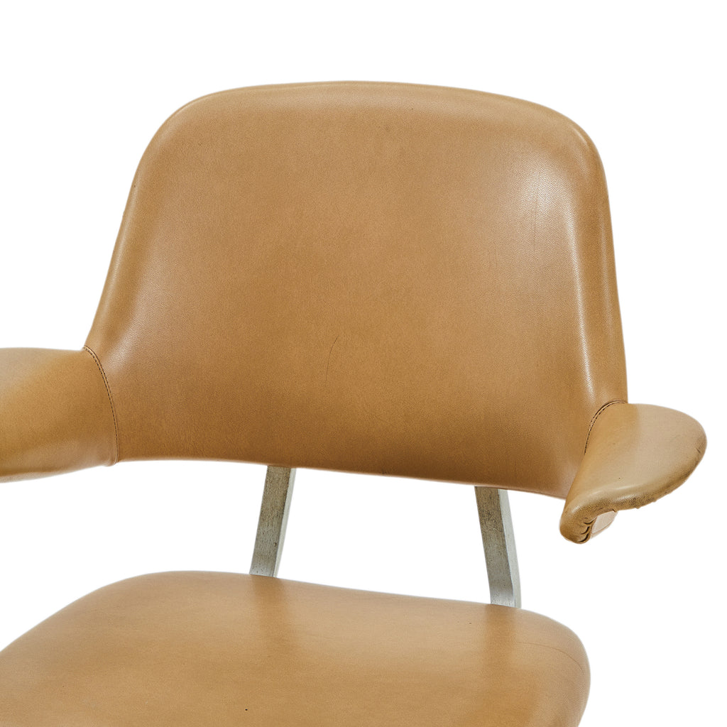 Tan Leather Floating Back Chair - Rolling Base