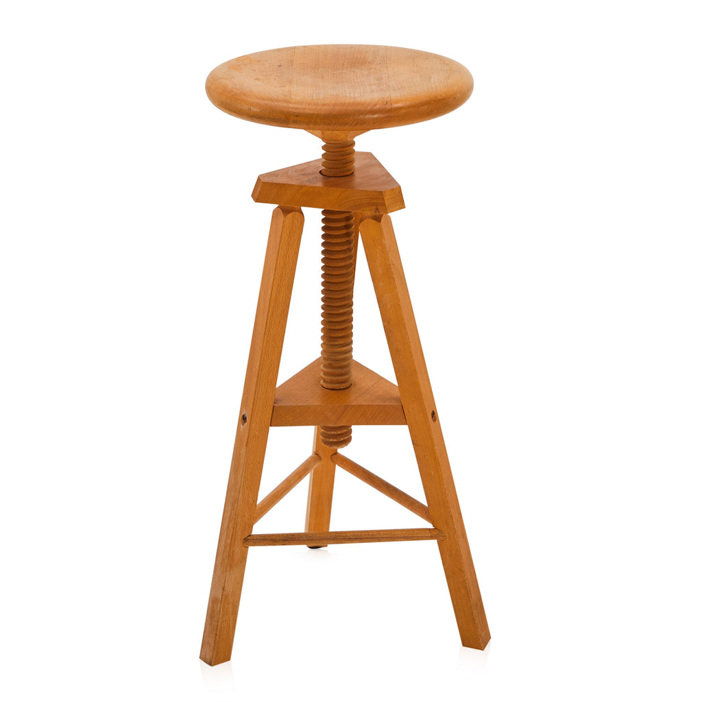 Adjustable Wood Industrial Stool