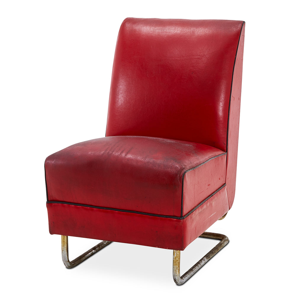Art Deco Red Leather Armless Chair