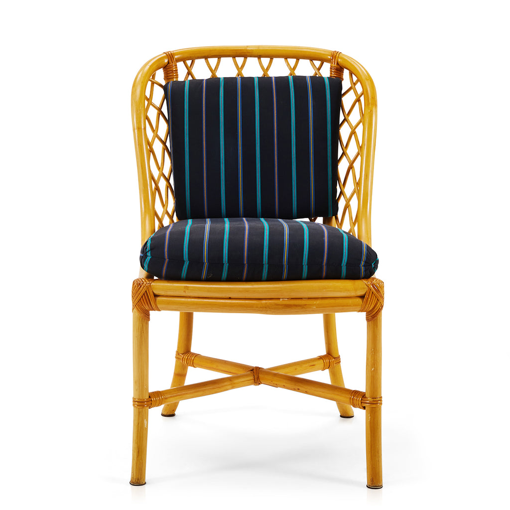 Black and Blue Rattan Woven Chair
