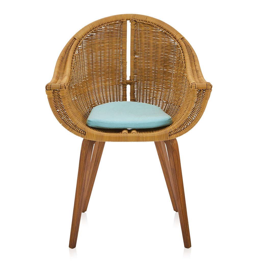 Turquoise and Wicker Dining Chair