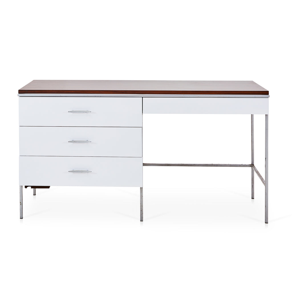 Narrow White 3-Drawer Desk with Wood Top