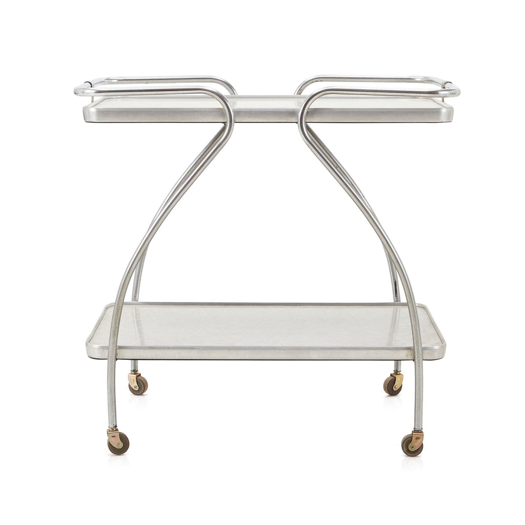 Silver Frame Bar Cart With Linoleum Surface