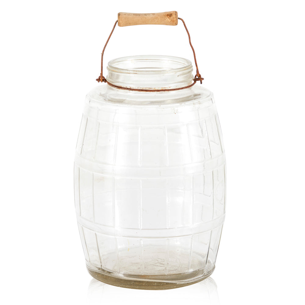 Barrel Glass Mason Jar with Handle