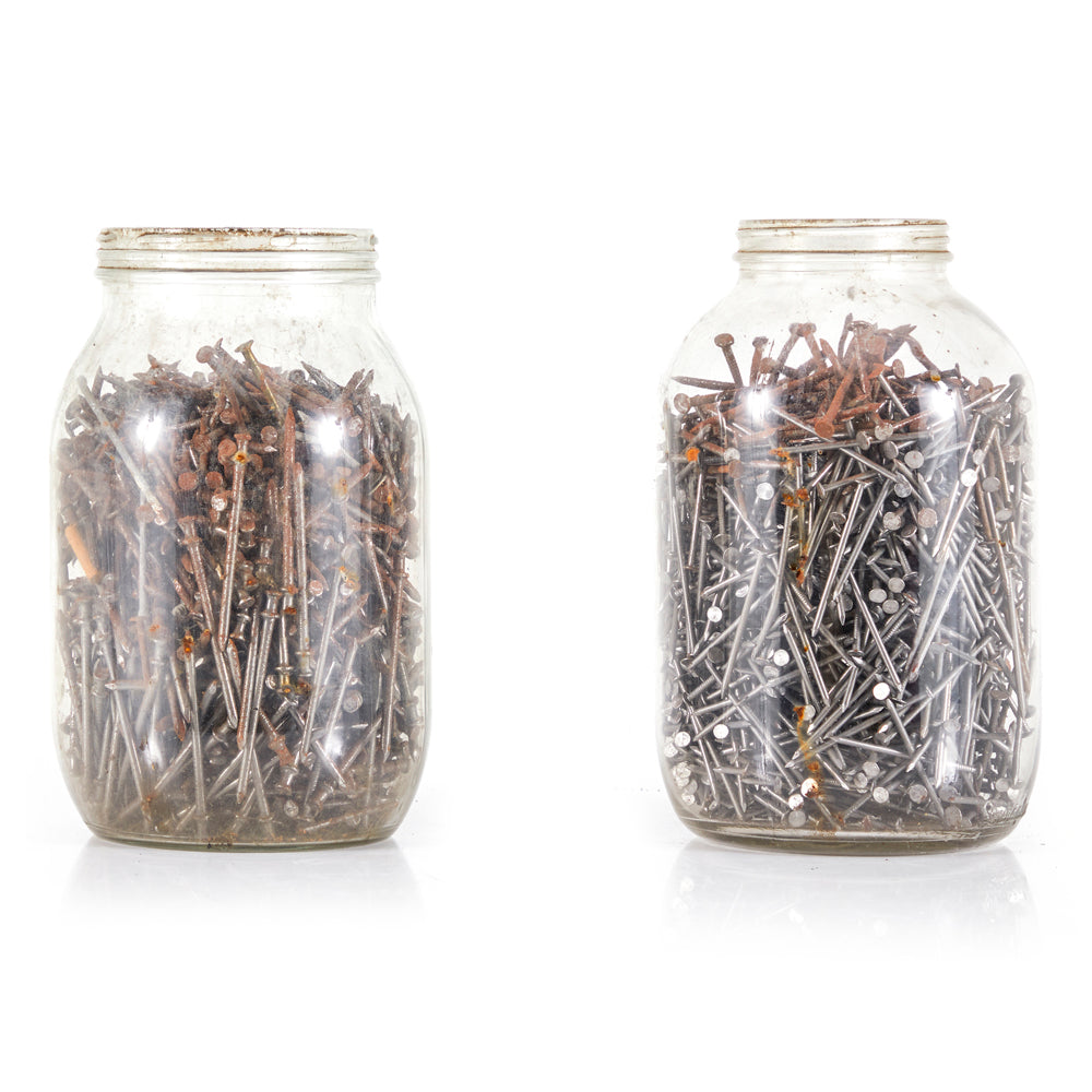 Large Glass Mason Jars with Oxidized Nails