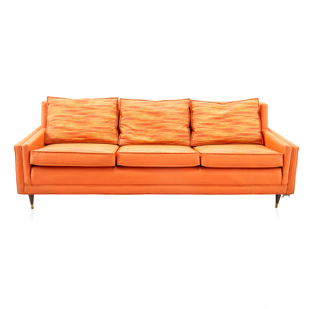 Vintage Orange Pattern Vinyl Sofa