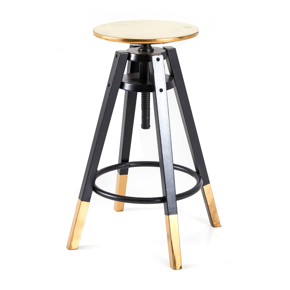 Gold-Dipped Adjustable Work Stool - Black