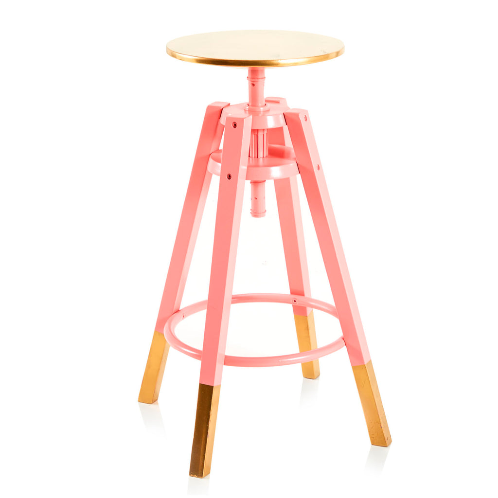 Gold-Dipped Adjustable Work Stool - Pink