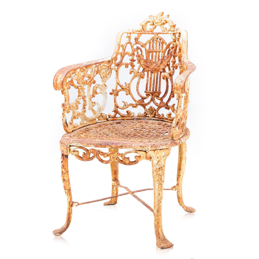 Rustic Cast Iron Ornate Arm Chair