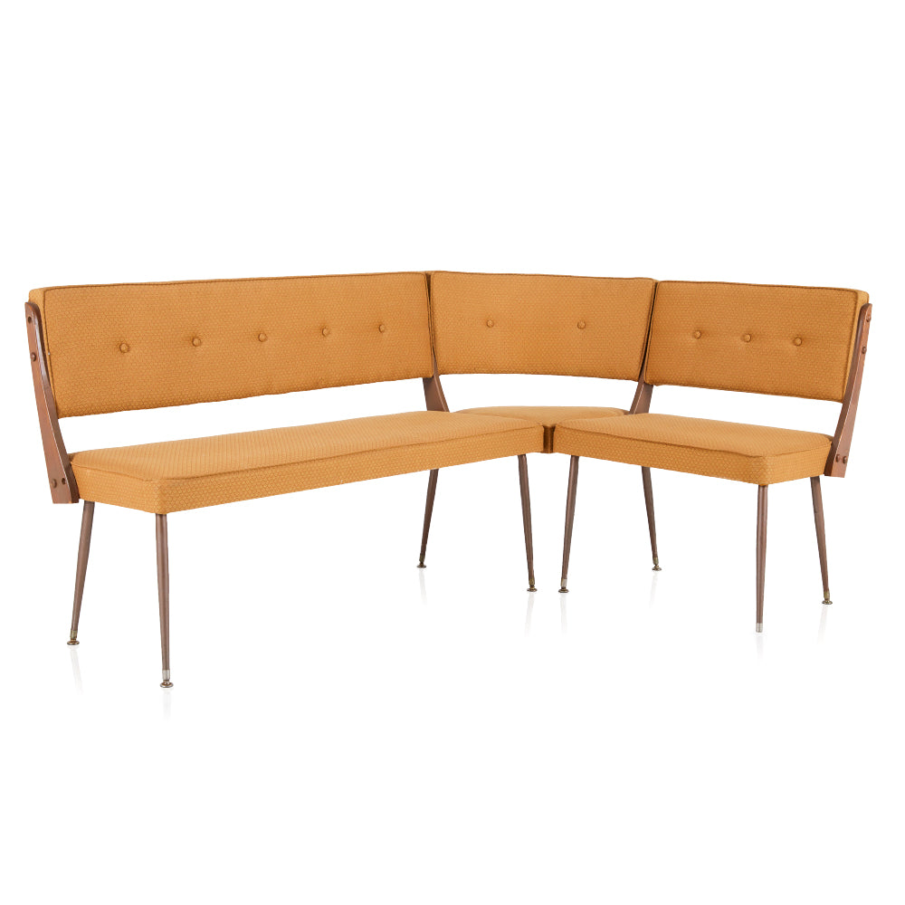 Beige L Shaped Fabric Bench