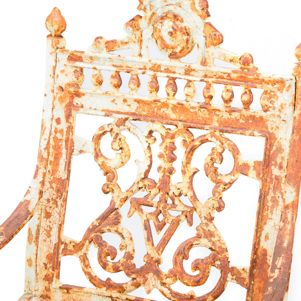 White and Rust Metal Ornate Chair