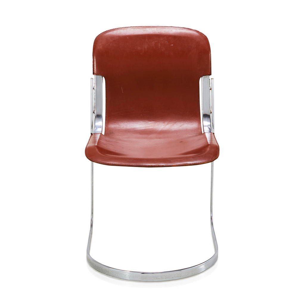 Red Leather Willy Rizzo Dining Chair