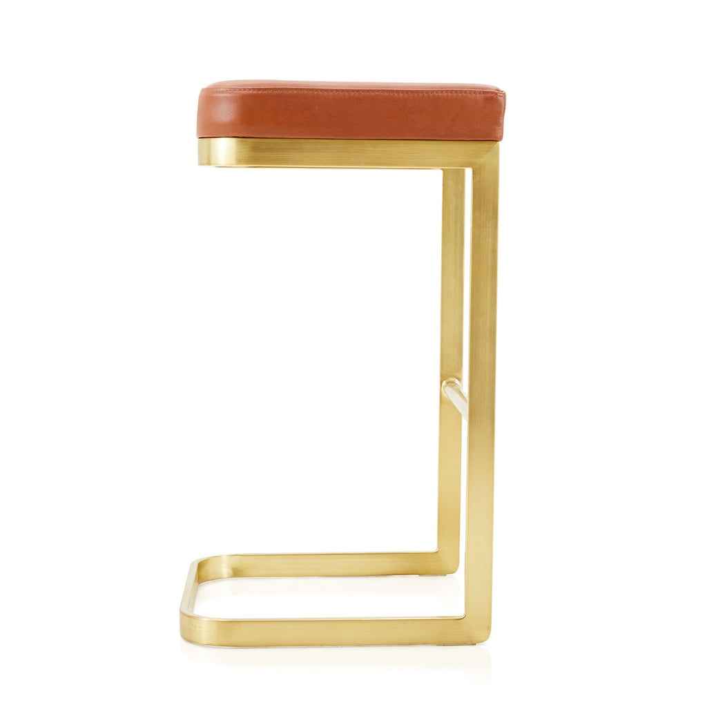 Terracotta and Gold Stool