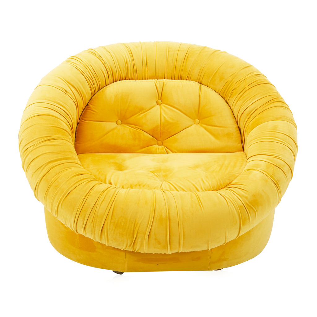 Yellow Plush Circle Lounge Chair