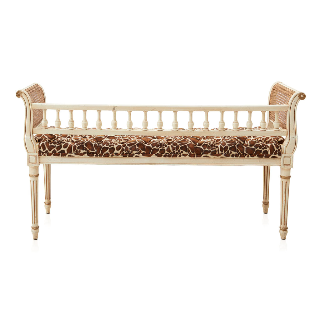 Giraffe Print Tufted Seat Bench
