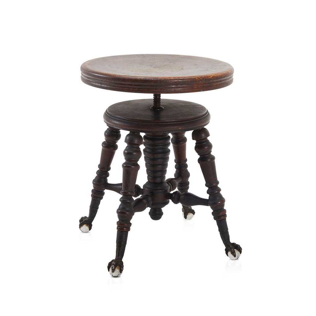 Dark Wood Antique Stool with Clawfeet