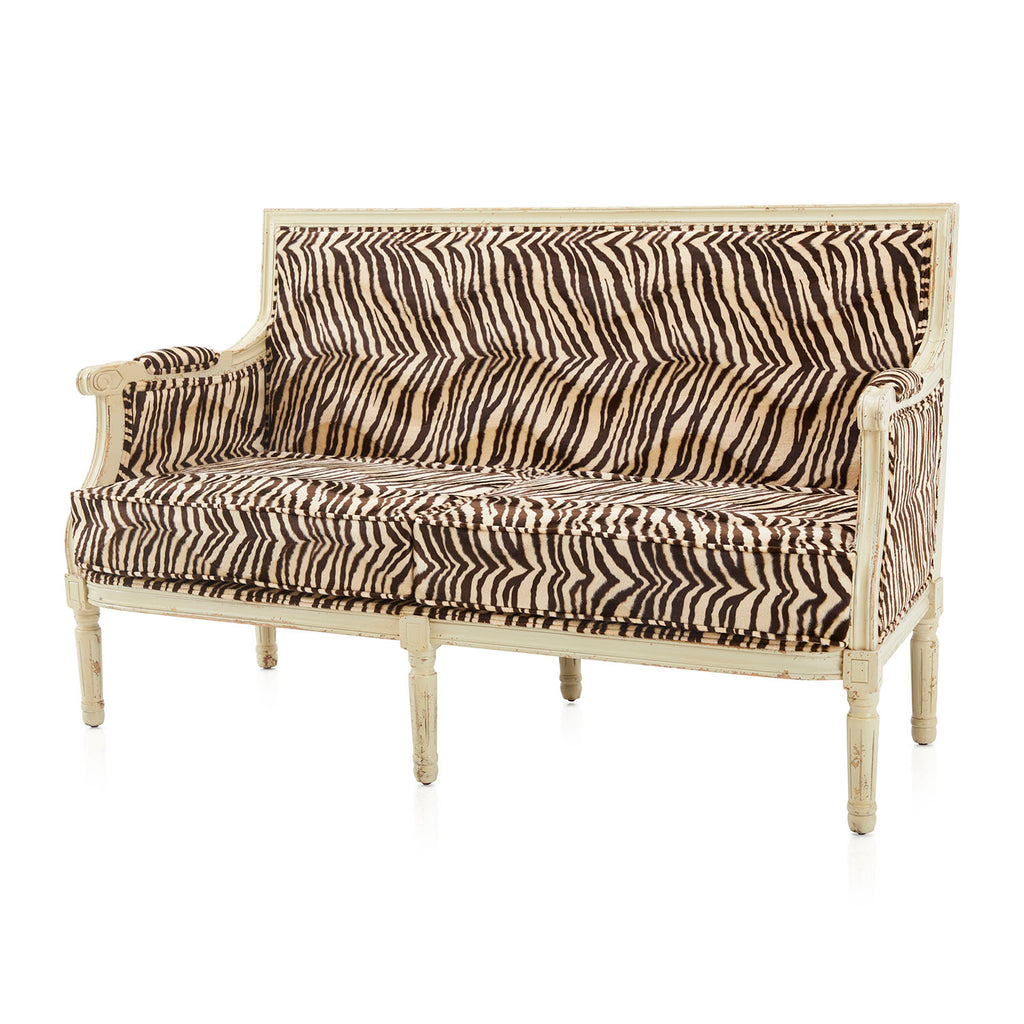 Brown + Cream Zebra Striped Settee