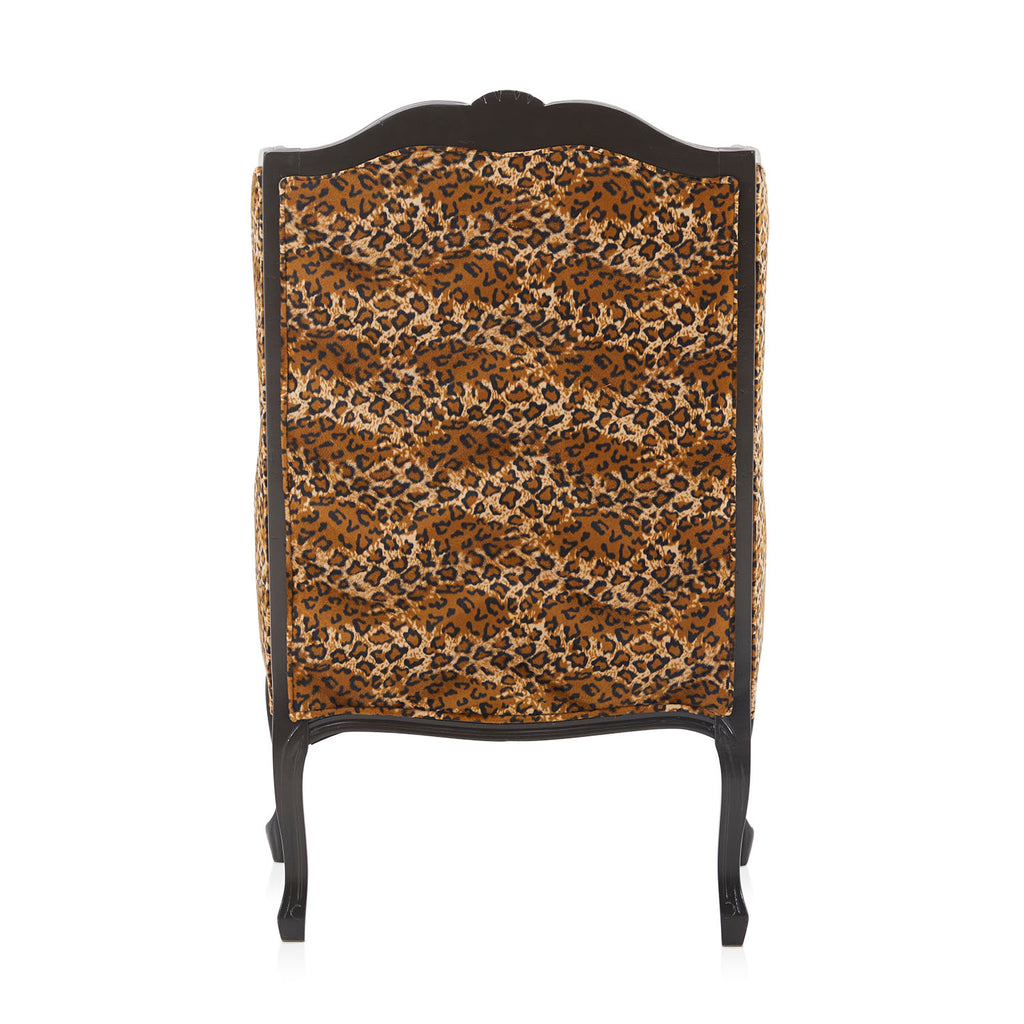 Leopard Print Black High Back Arm Chair