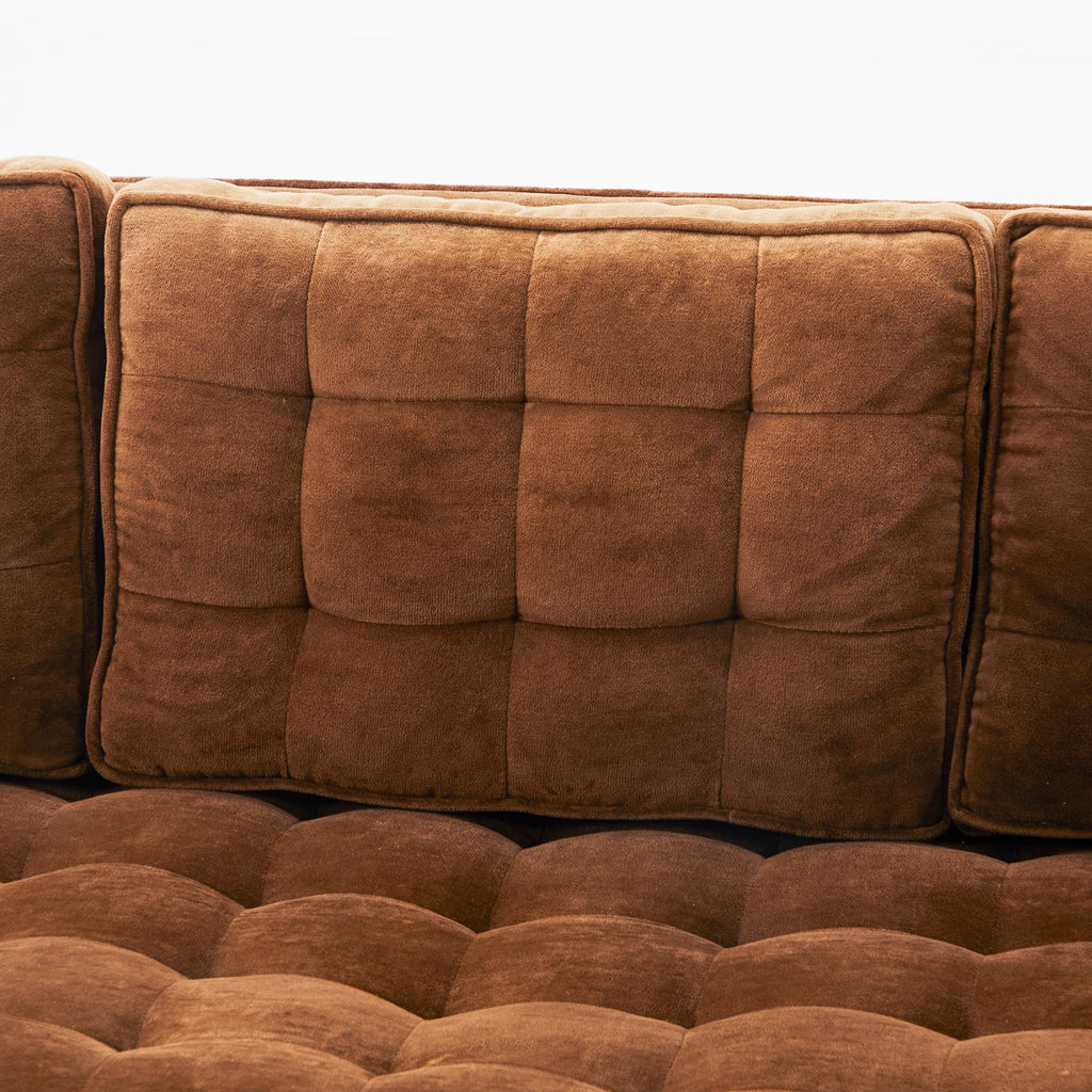 Brown Suede Modern Sofa