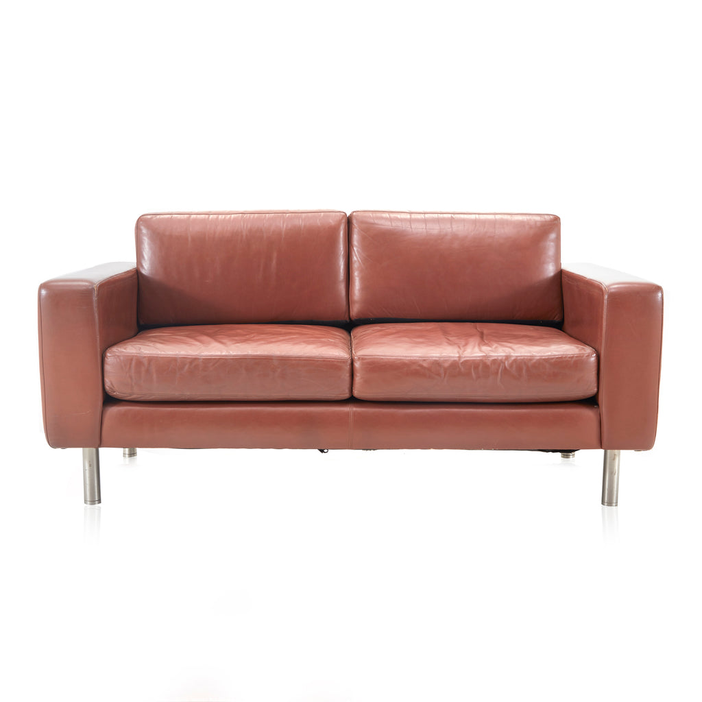 Vintage Brown Vinyl Two Seater Sofa