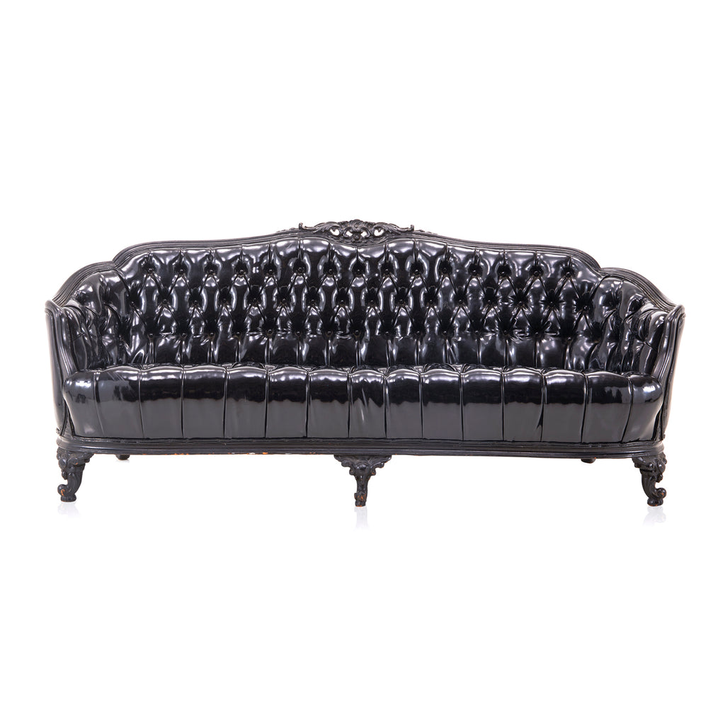 Black Tufted Patent Leather Sofa