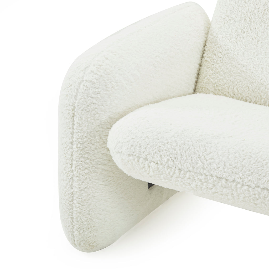 White Fur Chiclet Love Seat