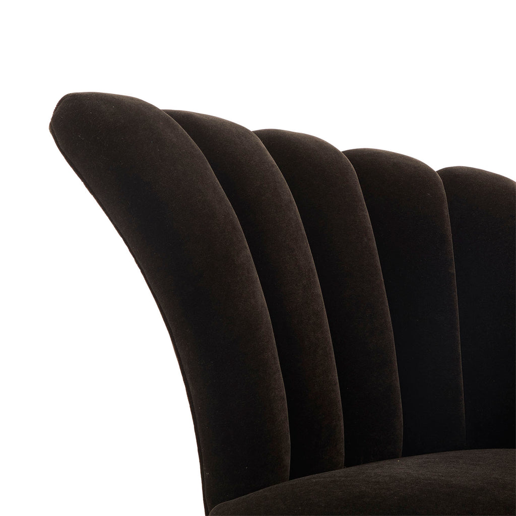 Black Velvet Double Wing Deco Sofa