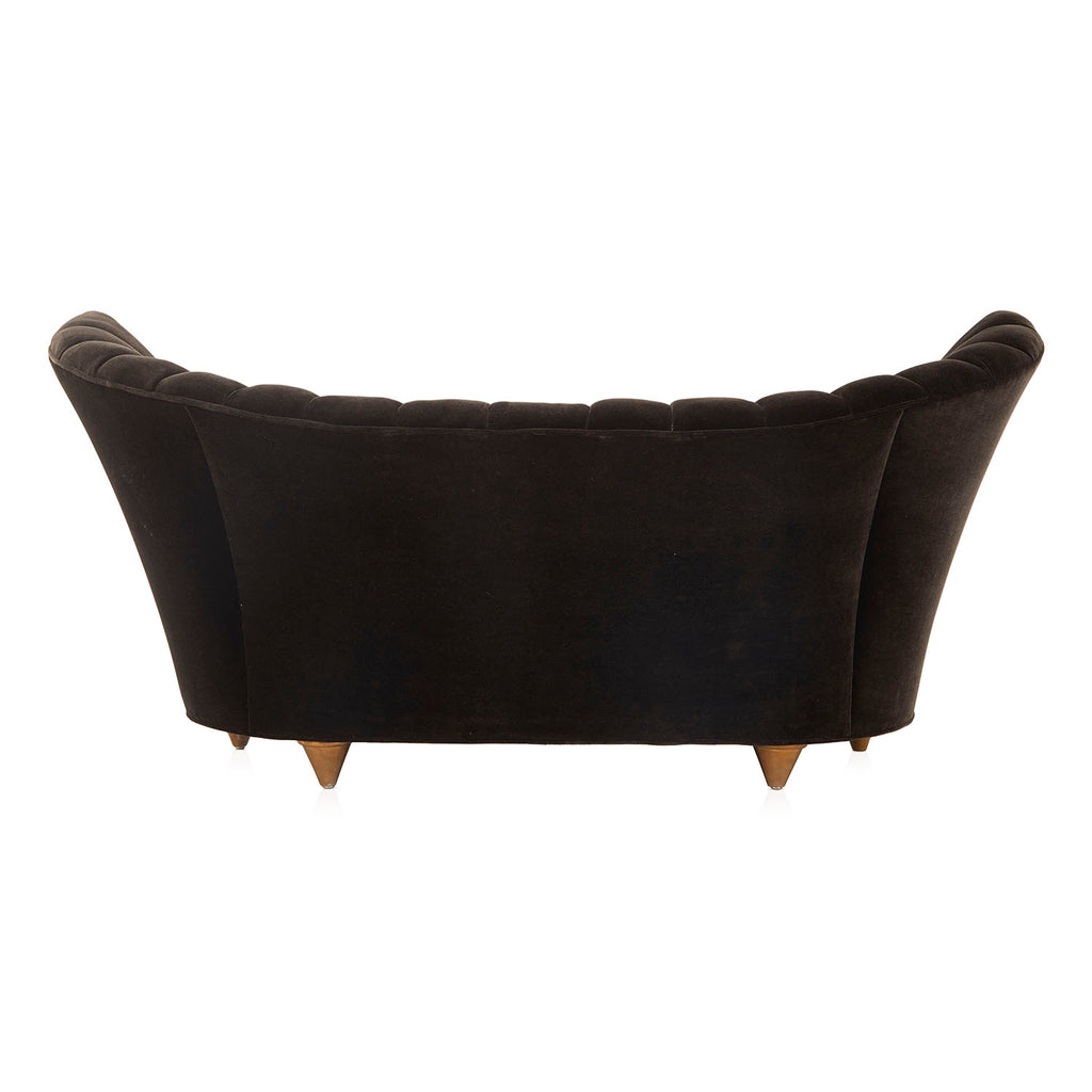 Black Velvet Asymmetrical Deco Loveseat