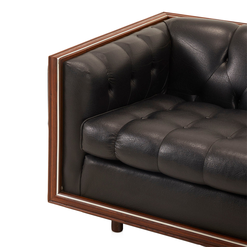 Black Leather Bubble Loveseat