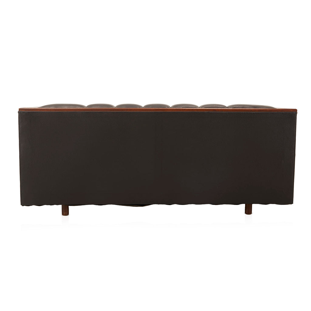 Black Leather Tufted Tuxedo Back Loveseat