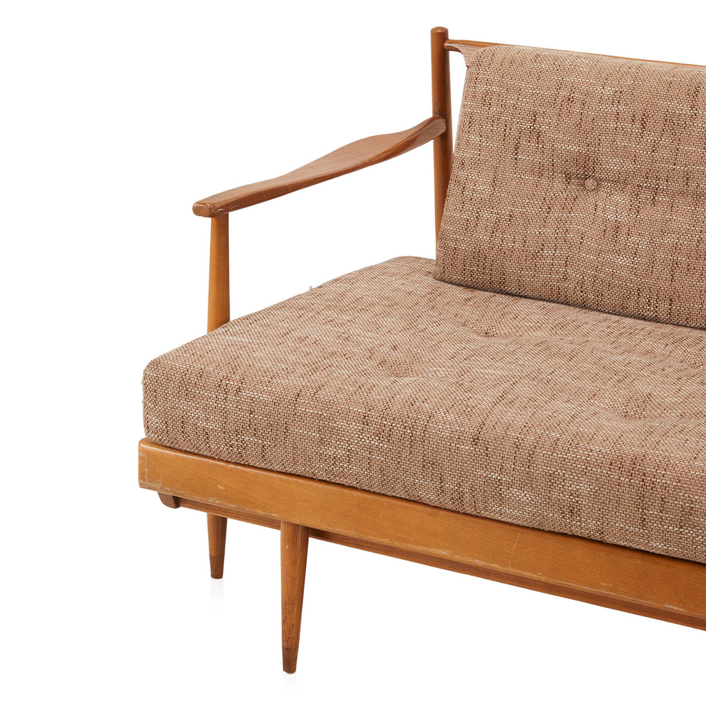 Bohemian Beige Wood Sofa