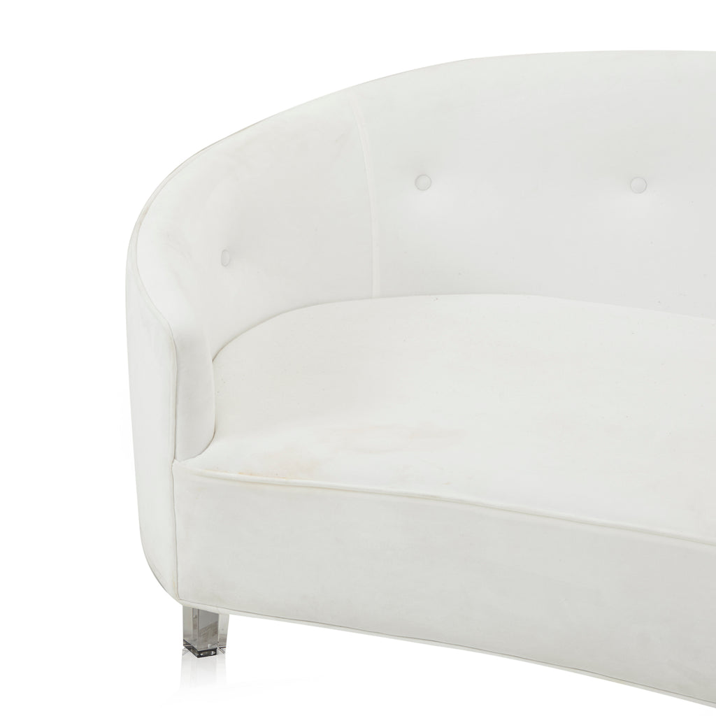 White Micro Velvet Curved Sofa