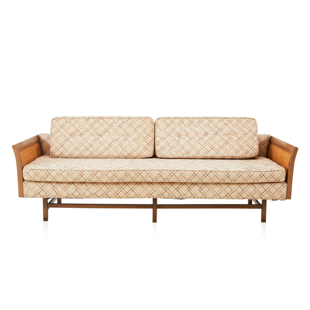 Beige Patterned Wood Mesh Couch