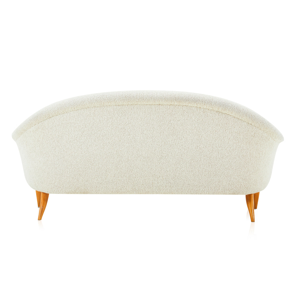 Cream Button Back Boucle Loveseat