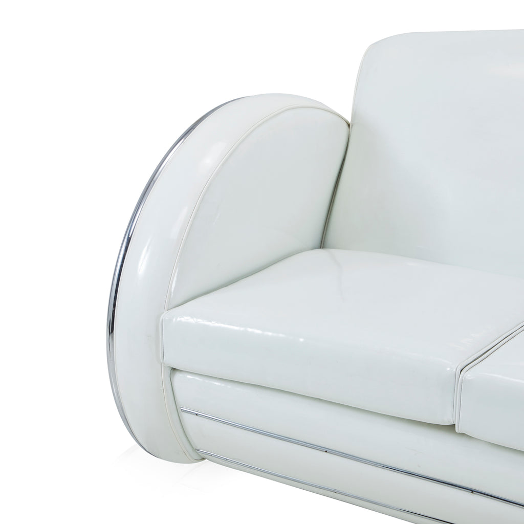 White Patent Vinyl Space Couch