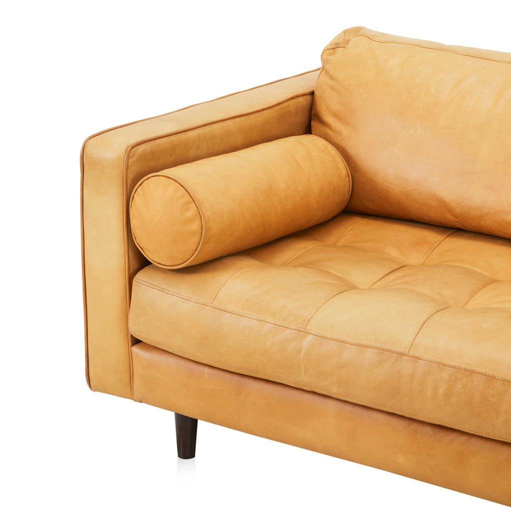 Camel Brown Leather Modern Sofa