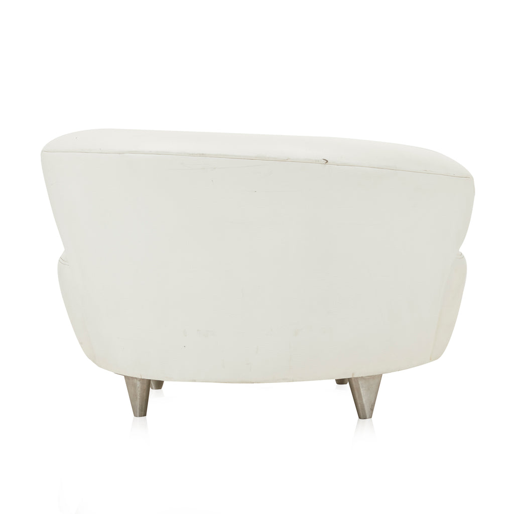 White Leather Cloud Double Wide Chair