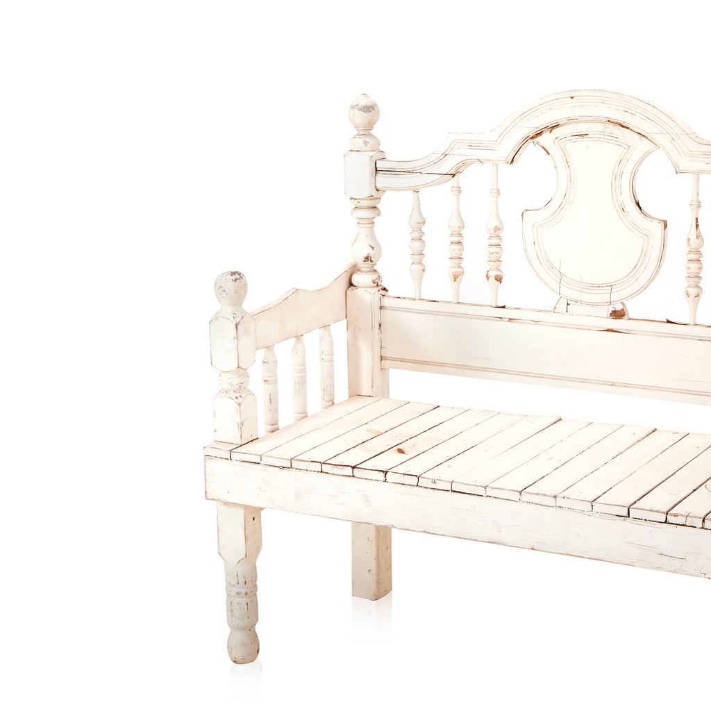 Vintage Ornate White Wood Bench