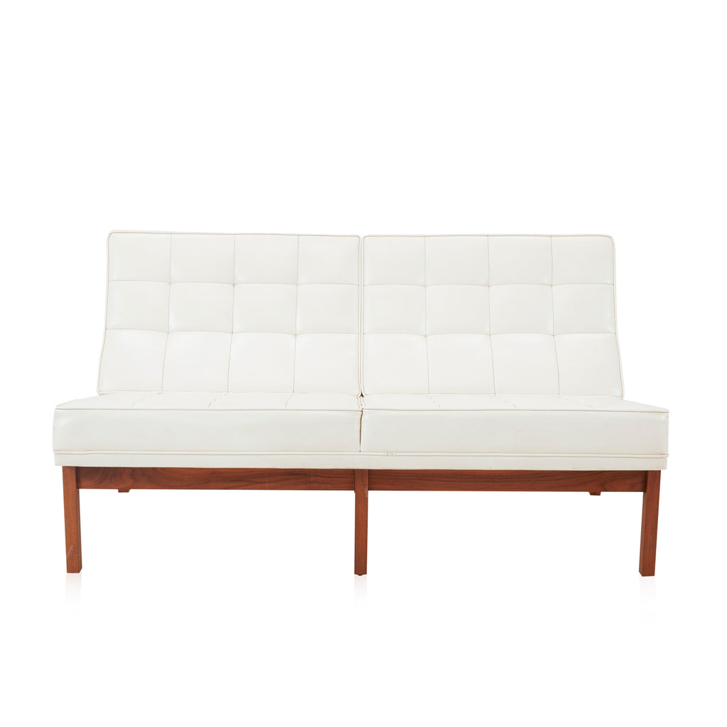 Modernica White Leather Armless Loveseat - Wood Base