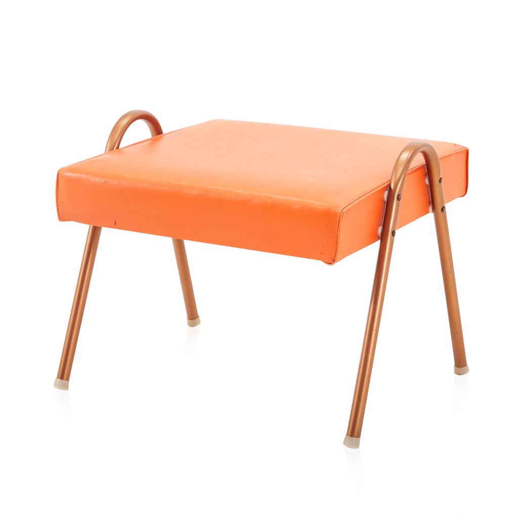 Orange Leather Bent Copper Ottoman