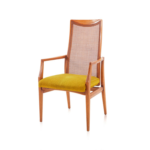 Cane Back Arm Chair with Yellow Cushion
