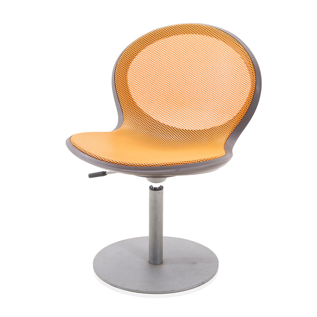 Orange Swivel Base Office Chair with Mesh Back